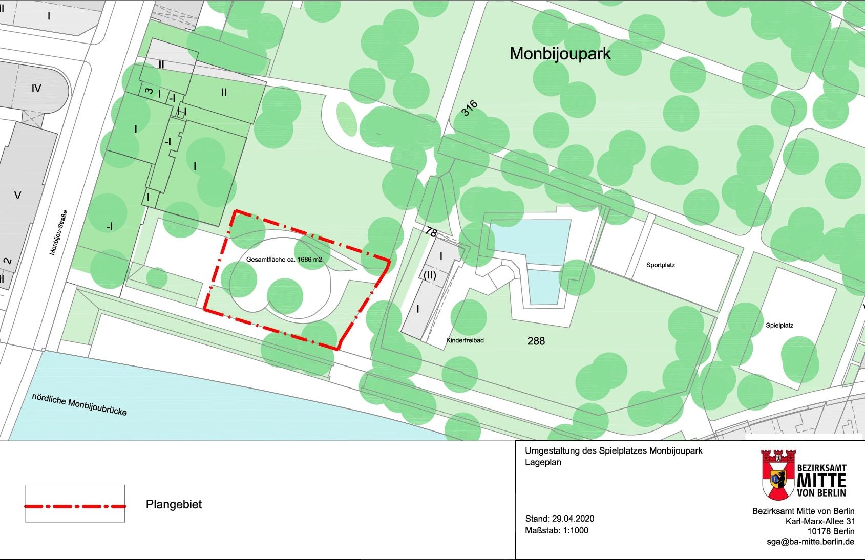 Der Lageplan des Monbijou-Parks