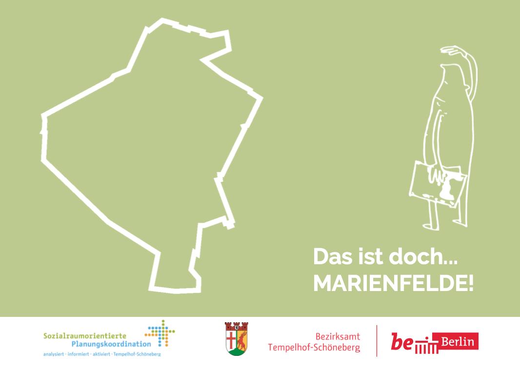 Hier ist das Titelbild des Flyers für die Bürgerbeteiligung in Marienfelde zu sehen.