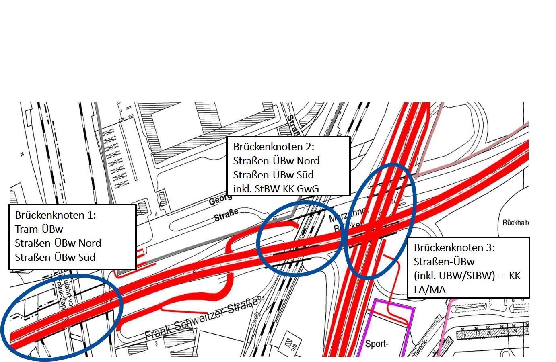 Übersicht über die drei Brückenbauwerke im Verkehrsknoten Marzahn (c) EIBS Setzpfandt