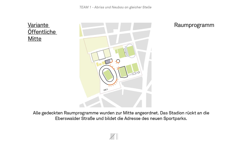Variante öffentliche Mitte - gedeckte Raumprogramme zur Mitte hin; Stadion rückt an die Eberswalder Straße